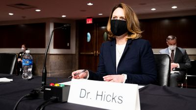 Kathleen Hicks, nominee to be Deputy Secretary of Defense, prepares to testify during her confirmation hearing in the Senate Armed Services Committee