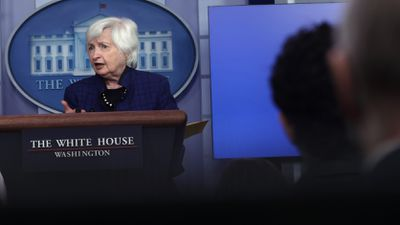 US Secretary of the Treasury Janet Yellen speaks during a daily news briefing at the White House